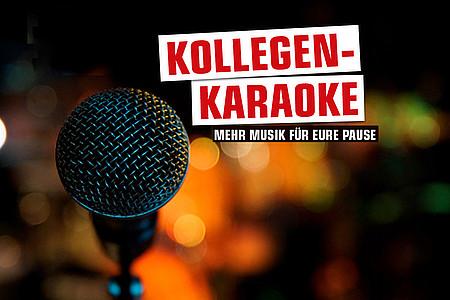 """Mikrofon und Schriftzug """"Kollegen-Karaoke"""""""